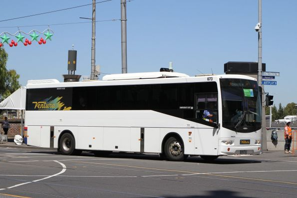 Ventura coach #673 8804AO arrives at Federation Square with a Westall rail replacement service
