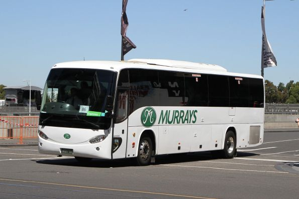 Murrays coach BS01XO departs Federation Square with a Westall rail replacement service