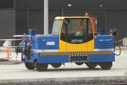 Zephir CRAB5000E rail shunter outside the Integrated Test Facility shed