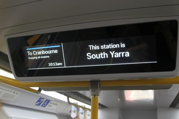 'This station is South Yarra' on the LCD passenger information screens