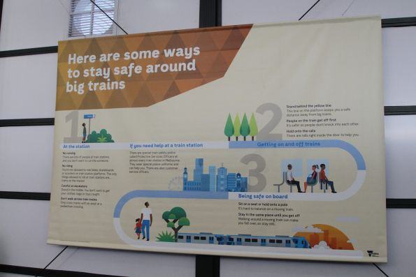 'Here are some ways to be stay safe around big trains' poster in the kids area
