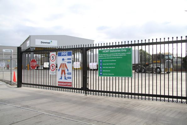 'HCMT Deliveries Only' sign at the gate to Newport Workshops
