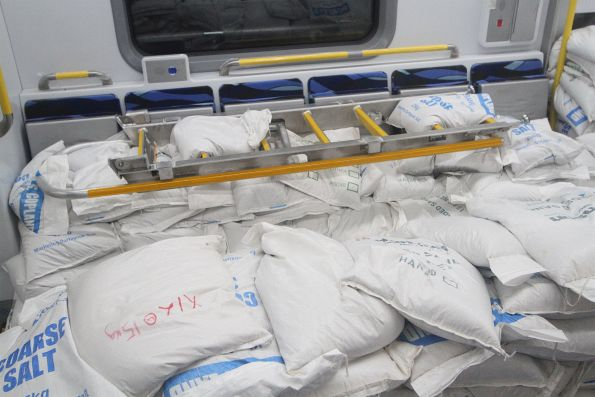 Sandbags simulating passengers onboard the HCMT carriage