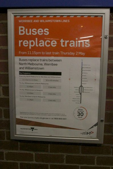 Notice that buses are replacing trains on the Werribee line from 11.15pm