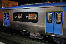 'Test Train' decals on the HCMT set windows and doors