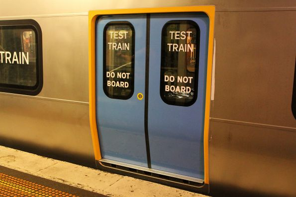 'Test Train. Do Not Board' decals on the HCMT set doors