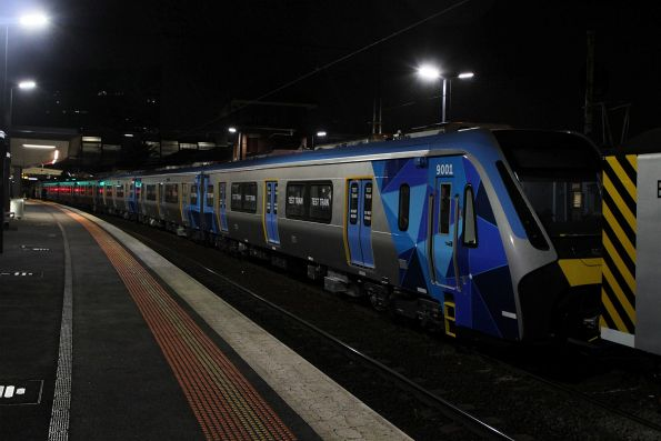 Waiting to depart Footscray following another inspection of the HCMT set