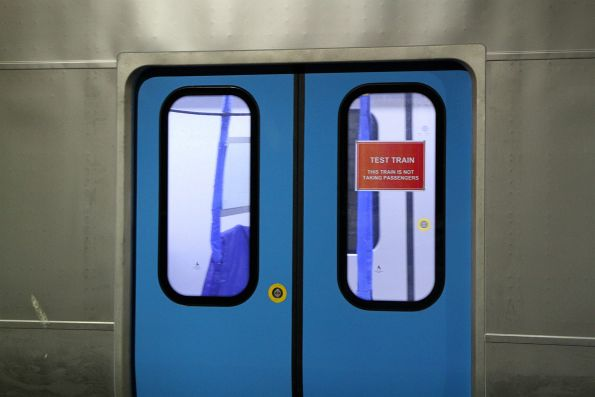 'Test train' signage in the doors