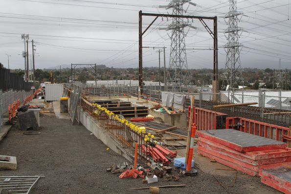 Piling works on the eastern side of the Heatherdale Road level crossing