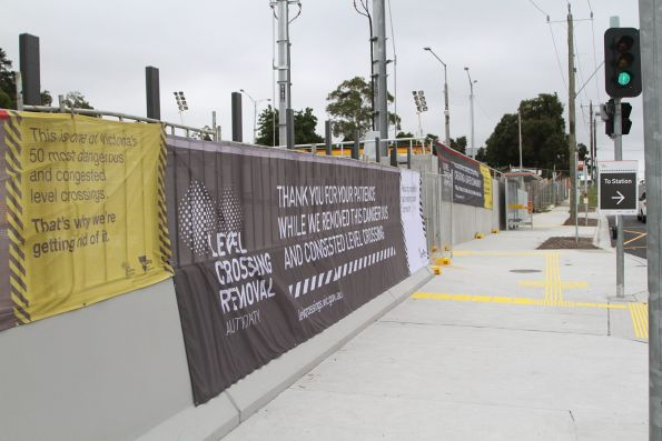 Level Crossing Removal Authority banners outside the new Heatherdale station