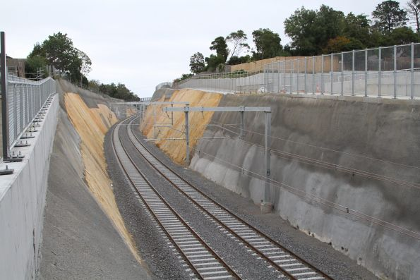 Rail cutting heads west of the new Heatherdale station