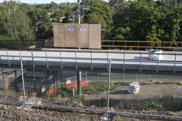 Timber wall protecting works on the bike path bridge at Cochrane Street, Mitcham