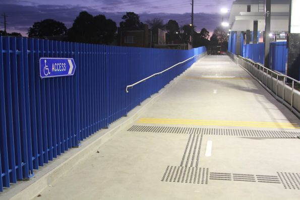 Bike path parallels the southern platform, doubles as the backup wheelchair access route