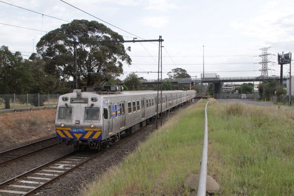 Hitachi 278M passes under the West Gate Bridge at Spotswood