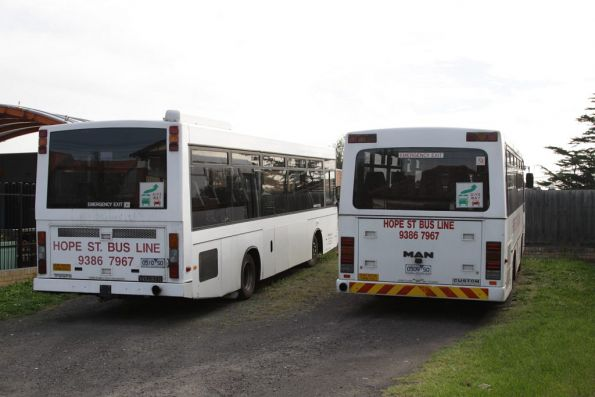 The entire Hope Street Bus Line fleet at their 'depot' on Melville Road: buses 0510SO and 0509SO