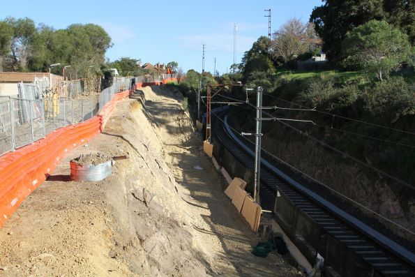 Excavation work underway along the single track at Brown Street in Heidelberg