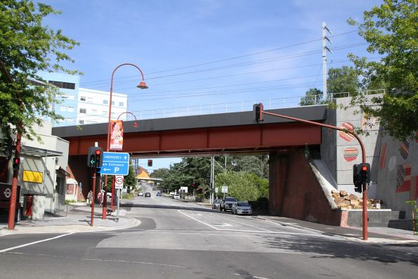 New bridge over Burgundy Street, beside the 2010-era rebuild of the original single track bridge