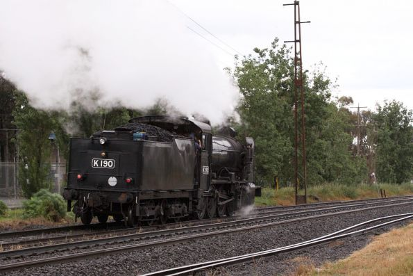 Steamrail's K190 at Brooklyn, headed up to Castlemaine to help out over summer