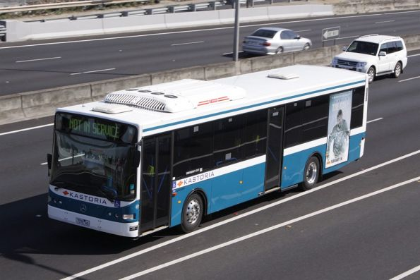 Kastoria Bus Lines #27 7370AO running not in service along the Tullamarine Freeway near Essendon Airport