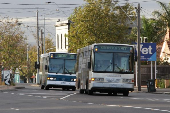 Tullamarine and Kastoria buses approach Essendon station