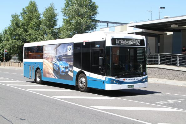 Kastoria bus #57 BS02TE on route 462 at Watergardens station