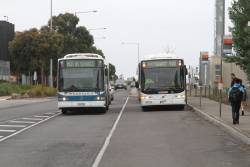 Kastoria bus 7370AO and CDC Melbourne bus #91 9071AO on route 419 at Watergardens station