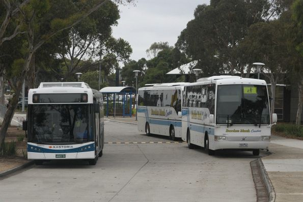 Kastoria bus BS03QY and Bacchus Marsh Coaches between runs at Watergardens shopping centre