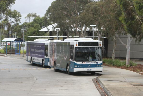 Kastoria bus 9158AO and fleetmate parked between runs at Watergardens Shopping Centre