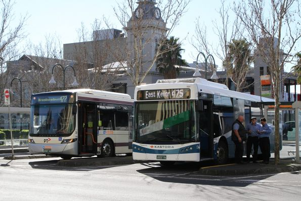 Tullamarine bus #35 BS02JH on route 477 and Kastoria bus #54 BS02HS on route 475 at Moonee Ponds Junction