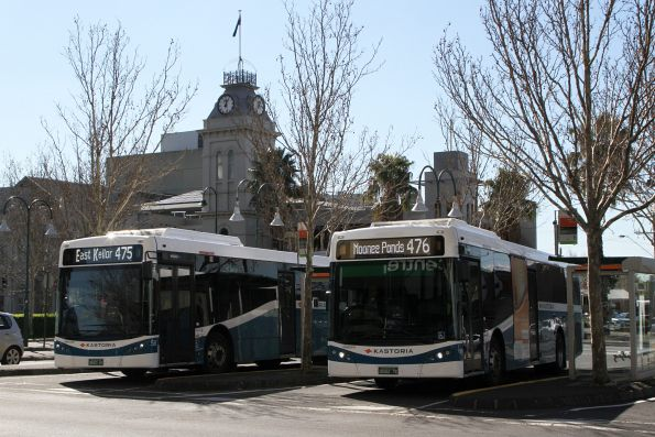 Kastoria bus #58 BS03OY on route 475 alongside #57 BS02TE on route 476 at Moonee Ponds Junction