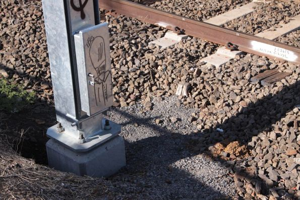 New folding signal base, beside new concrete sleepers for the train stop
