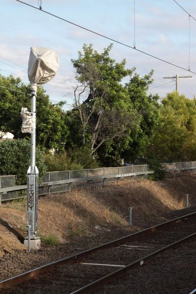 Bagged signals on a brand new folding mast at Ascot Vale