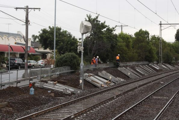 Down line resleepered at Ascot Vale station, the up line still to be done