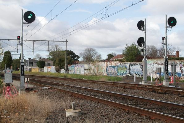 Signals E298 and E298P for up trains departing Essendon