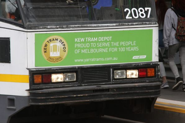 Kew Tram Depot centenary message on the front of tram B2.2087
