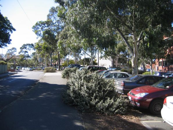Looking down the line, car park for Glenferrie Oval, along Hilda Crescent