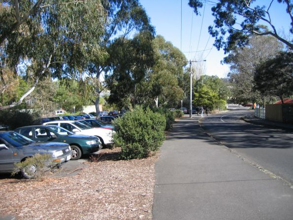 Looking up the line, car park for Glenferrie Oval, along Hilda Crescent
