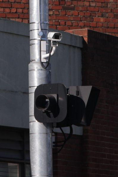 CCTV camera outside Kew Depot, pointed towards northbound trams on High Street