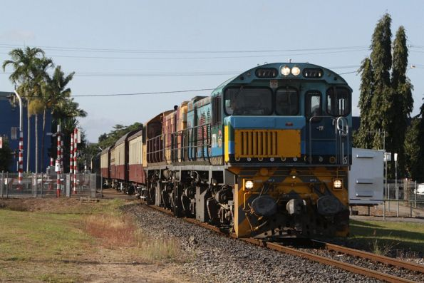 Locomotives 1771 and 1756 lead the 8.30am departure out of Cairns, just north of the station