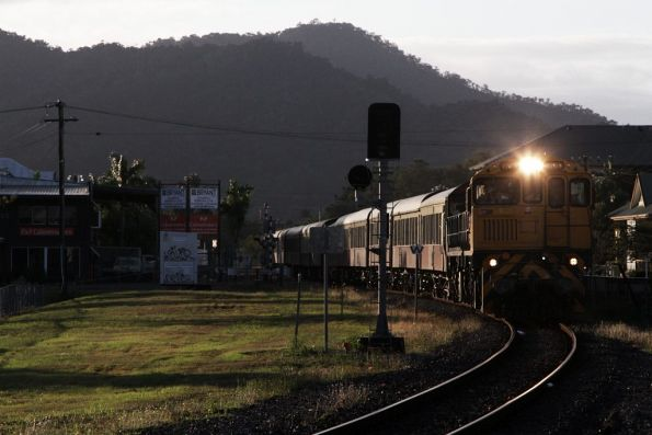 Locomotives 1734 and 1764 lead the final train back into Cairns station