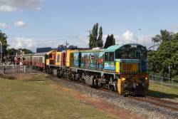 Locomotives 1734 and 1764 lead the 9.30am train out of Cairns