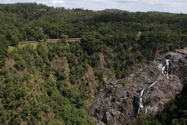 Looking over Barron Falls to the railway on the other side of the gorge