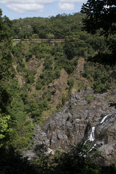 Looking across the gorge to Barron Falls and the railway on the southern side