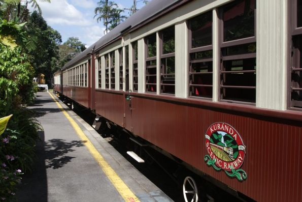 Trains stabled before the return journey at Kuranda station