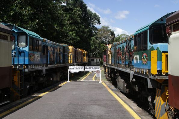 Both train sets stabled at Kuranda station before their return journeys to Cairns