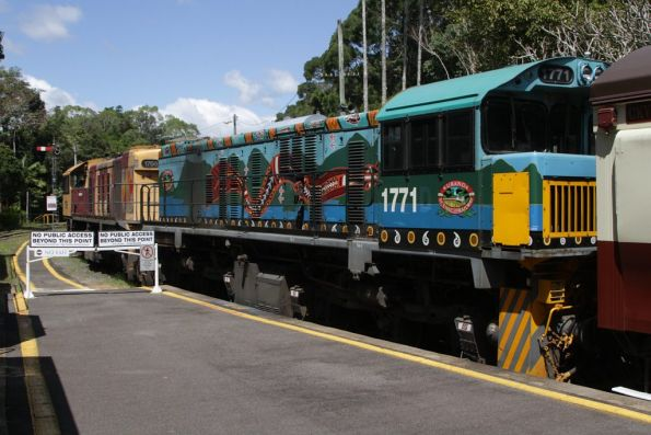 Locomotives 1771 and 1756 stabled at Kuranda station before the return journey to Cairns