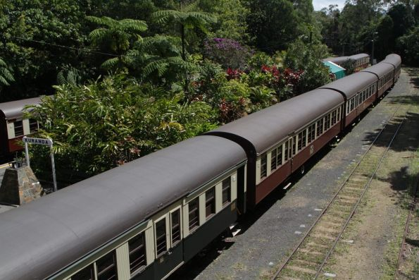 Pair of stabled trains parked at Kuranda station