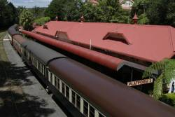 Looking down on a stabled train at Kuranda station