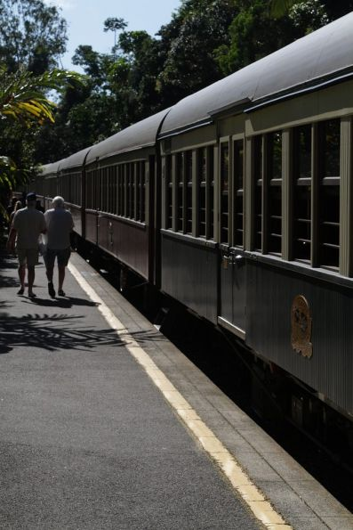 Looking down the carriages at Kuranda station