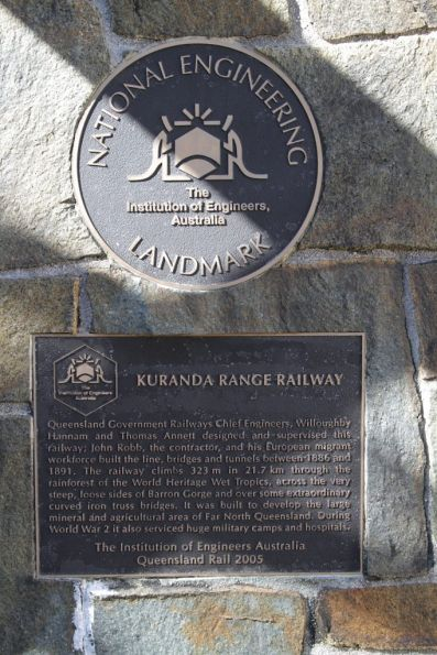 'National Engineering Landmark' plaque at Kuranda station